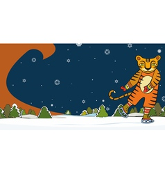 Tiger Skater Winter vector image