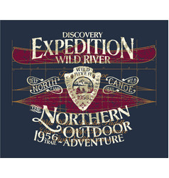 vintage canoe wild river expedition adventure vector image