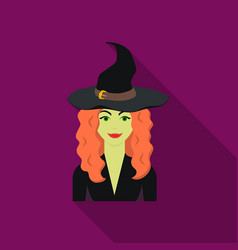 witch icon in flate style isolated on white vector image vector image