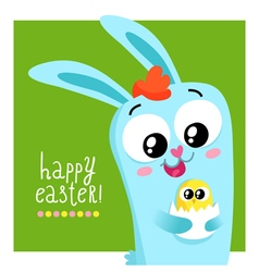Easter greeting card template with bunny holding vector image