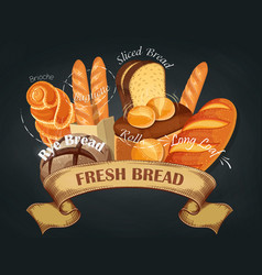 fresh bread baking shop emblem vector image vector image