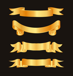 golden ribbon decoration elements ribbons vector image