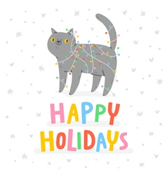 Happy holidays cat vector image vector image