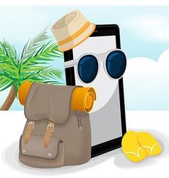 Smartphone Mobile Travel Adventurer Backpack vector image vector image