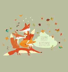 cute forest foxes with autumn leaves vector image