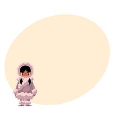 eskimo inuit black haired girl in sheepskin warm vector image vector image