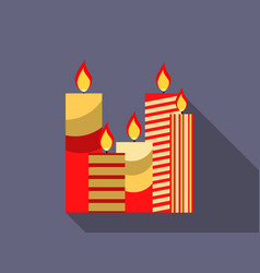 christmas candles in a flat design vector image vector image