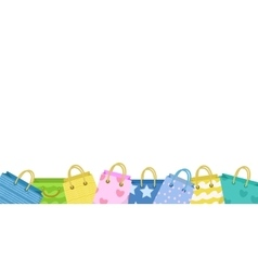 Cute shopping bag banner colorful bags with vector