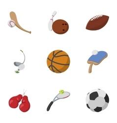Sports stuff icons set cartoon style vector image vector image