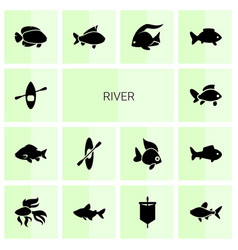 14 river icons vector