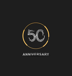 50 anniversary logotype with silver number vector