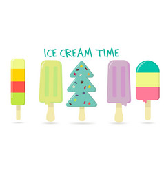 a set of five different sweet ice cream on a vector image