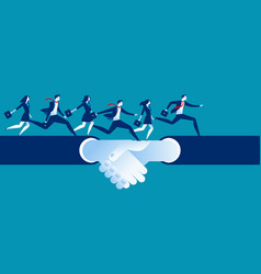 Agreement and hand shake business people running vector