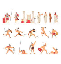 Ancient rome icons set vector
