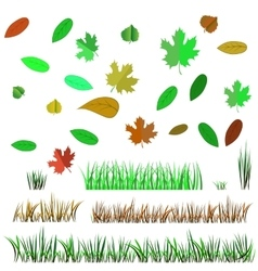 Autumn Leaves and Autumn Grass vector