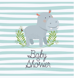 baby shower card with cute hippo vector image