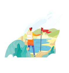 Backpacker hiker traveller or explorer standing vector