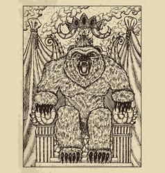 Bear mystic concept for lenormand oracle tarot vector