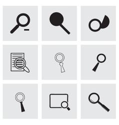 black magnufying glass icons set vector image