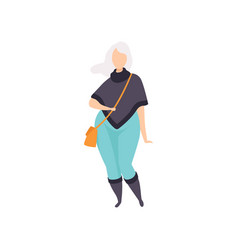 Blonde curvy overweight girl in fashionable vector