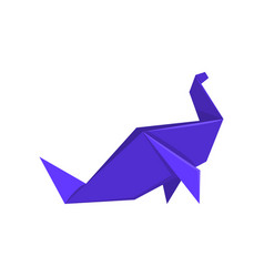 Blue dinosaur made of paper in origami technique vector
