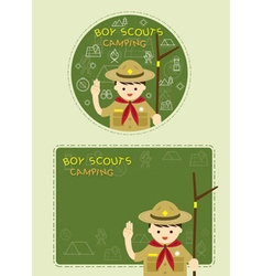 Boy scout with Camping Line Icons Label Background vector