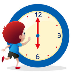 Boy telling time on blue clock vector