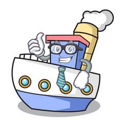 businessman ship character cartoon style vector image