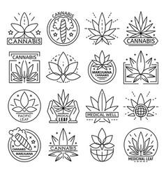 cannabis logo set outline style vector image