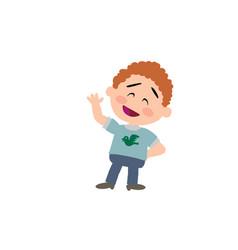 Cartoon character boy greeting vector