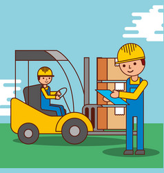 cartoon men worker delivery logistic forklift and vector image