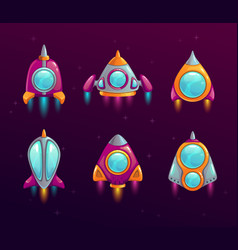 cartoon rocket icons set vector image