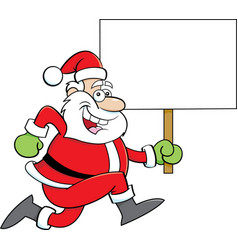 cartoon santa claus running while holding a sign vector image