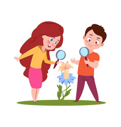 children look on flowers young biologist biology vector image