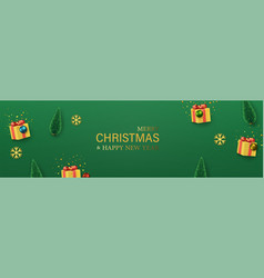 christmas green banner with yellow gift boxes vector image