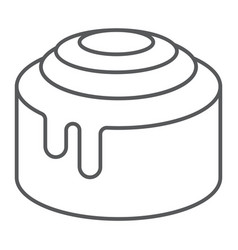 Cinnamon bun roll thin line icon sweet and tasty vector
