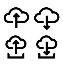 Cloud upload and download icon set vector