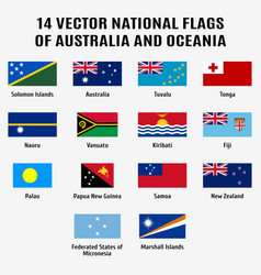collection 14 national flags of vector image