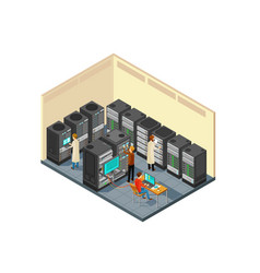 computer hardware in network server room with vector image