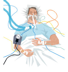 Covid-19 patient in hospital on a ventilator vector