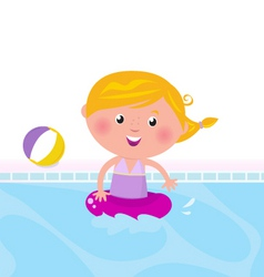 cute girl swimming in pool vector image