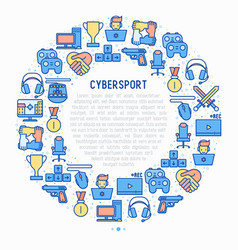Cybersport concept in circle with thin line icons vector