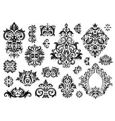 Damask ornament vintage floral sprigs pattern vector