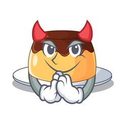 Devil caramel chocolate pudding on cartoon funny vector