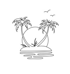 Drawing an oasis island with two palm trees vector