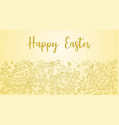 easter doodle background vector image