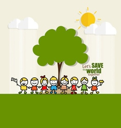 ECO FRIENDLY Ecology concept with Cute children vector image