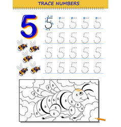 Educational page for kids with number 5 printable vector