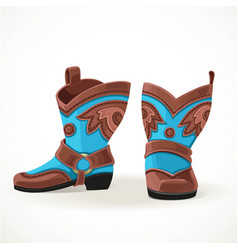 Embroidered cowboy boots from brown and blue vector