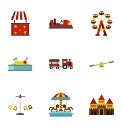 Entertainment for children icons set flat style vector